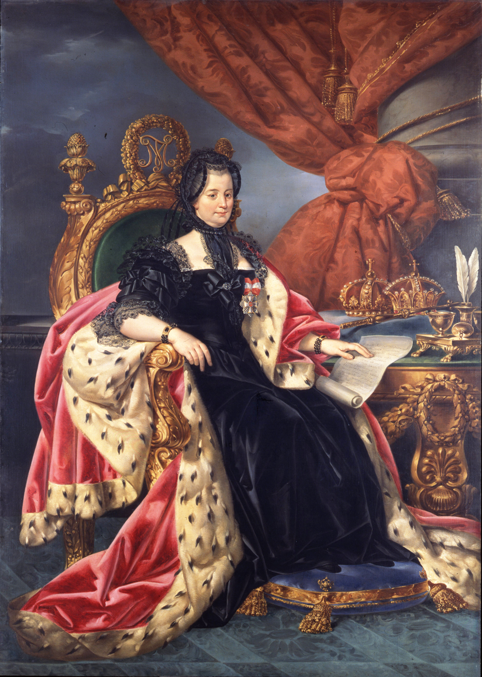 This Maria Theresa portrait by Comerio is inside the Library