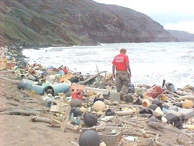 Marine debris on the Hawaiian coast